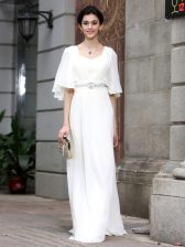 Elegant White Half Sleeves Chiffon Zipper Prom Dresses for Prom and Party