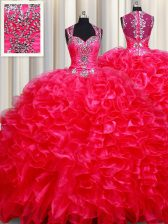 Fashion Straps Sleeveless Floor Length Beading and Ruffles Zipper Quinceanera Dress with Red