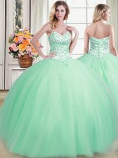 Ideal Tulle Sweetheart Sleeveless Lace Up Beading Vestidos de Quinceanera in Apple Green
