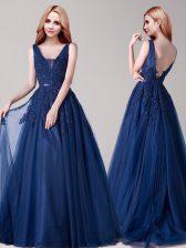 Backless V-neck Sleeveless Prom Dress Floor Length Appliques and Belt Navy Blue Tulle