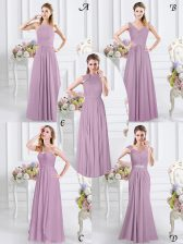 Exquisite Lavender Cap Sleeves Chiffon Zipper Quinceanera Dama Dress for Prom and Party and Wedding Party