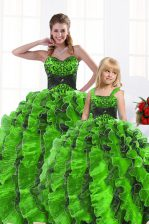 Trendy Sweetheart Lace Up Beading and Appliques and Ruffles Quinceanera Gown Sleeveless