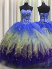 Best Visible Boning Multi-color Sleeveless Beading and Ruffles and Sequins Floor Length Quinceanera Gown