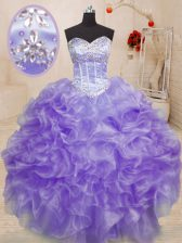 Romantic Lavender Lace Up Sweetheart Beading and Ruffles Sweet 16 Dresses Organza Sleeveless