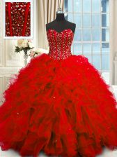 Fashion Red Quinceanera Gown Military Ball and Sweet 16 and Quinceanera with Beading and Ruffles and Sequins Sweetheart Sleeveless Lace Up