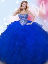 Royal Blue Ball Gowns Tulle Sweetheart Sleeveless Beading Floor Length Lace Up Quinceanera Gown