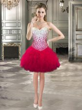 Sweetheart Sleeveless Prom Evening Gown Mini Length Beading and Ruffles Hot Pink Tulle