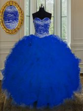 Super Royal Blue Ball Gowns Sweetheart Sleeveless Tulle Floor Length Lace Up Beading and Ruffles Vestidos de Quinceanera