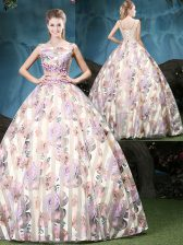 Smart Straps Multi-color Tulle Lace Up 15th Birthday Dress Sleeveless Floor Length Appliques and Pattern