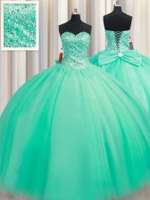 Turquoise Sleeveless Floor Length Beading and Bowknot Lace Up Sweet 16 Dress