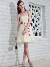 Lace Floor Length Backless Prom Dresses White for Prom and Party with Belt and Hand Made Flower