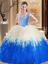 Blue And White Tulle Zipper V-neck Sleeveless Floor Length Sweet 16 Dresses Lace and Appliques and Ruffles
