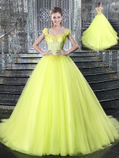 Straps With Train Ball Gowns Sleeveless Yellow Quince Ball Gowns Brush Train Lace Up