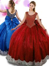 Scoop Floor Length Wine Red Quinceanera Gown Organza Sleeveless Beading and Appliques and Bowknot