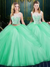 Scoop Sleeveless Floor Length Lace and Pick Ups Zipper Sweet 16 Dress with Apple Green