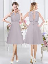 Halter Top Knee Length Grey Vestidos de Damas Chiffon Sleeveless Lace and Ruching