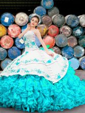 Blue And White Sleeveless Organza Lace Up Quince Ball Gowns for Military Ball and Sweet 16 and Quinceanera