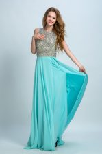 Simple Aqua Blue Chiffon Backless Scoop Sleeveless With Train Dress for Prom Brush Train Beading