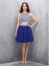Artistic Scoop Backless Organza Sleeveless Knee Length Prom Dress and Beading