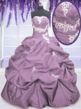 Taffeta Sleeveless Floor Length Ball Gown Prom Dress and Appliques and Ruching and Pick Ups