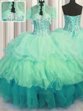 Noble Visible Boning Bling-bling Sleeveless Floor Length Beading and Ruffled Layers Lace Up 15th Birthday Dress with Multi-color