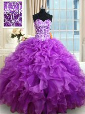 Clearance Sweetheart Sleeveless Lace Up Quinceanera Gown Eggplant Purple Organza