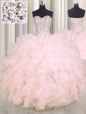 Baby Pink Ball Gowns Sweetheart Sleeveless Organza Floor Length Lace Up Beading and Ruffles Quinceanera Gown