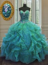 Turquoise Organza and Sequined Lace Up Sweet 16 Quinceanera Dress Sleeveless Floor Length Beading and Ruffles