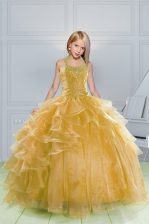 Halter Top Floor Length Lace Up Little Girl Pageant Dress Orange for Party and Wedding Party with Beading and Ruffles