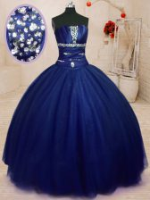 Royal Blue Lace Up 15th Birthday Dress Beading Sleeveless Floor Length