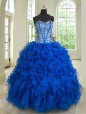 Royal Blue Ball Gowns Organza Sweetheart Sleeveless Beading and Ruffles Floor Length Lace Up Sweet 16 Quinceanera Dress