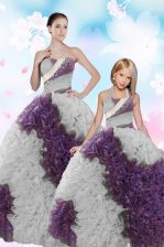 Inexpensive Fabric With Rolling Flowers Sleeveless Floor Length Quinceanera Dress and Beading and Sequins
