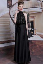 Black Sleeveless Beading Floor Length Homecoming Dress