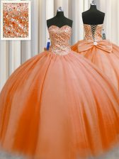Ideal Puffy Skirt Sweetheart Sleeveless Lace Up Sweet 16 Dresses Orange Red Tulle