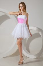 Artistic Sleeveless Mini Length Beading Zipper Quinceanera Court of Honor Dress with White