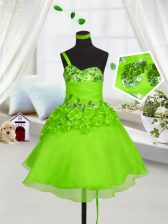 One Shoulder Organza Lace Up Little Girls Pageant Dress Sleeveless Knee Length Beading and Hand Made Flower