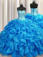 Beautiful Visible Boning Sleeveless Brush Train Lace Up Beading and Ruffles Sweet 16 Dresses