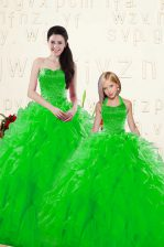Deluxe Sleeveless Lace Up Floor Length Beading and Ruffles 15 Quinceanera Dress