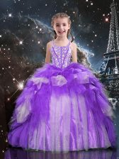 Beading and Ruffles Little Girls Pageant Dress Wholesale Purple Lace Up Sleeveless Floor Length