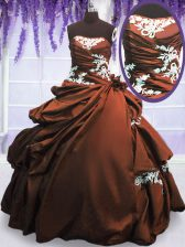 Romantic Taffeta Strapless Sleeveless Lace Up Appliques and Pick Ups Quinceanera Gown in Brown