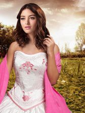 Fitting Embroidery and Bowknot Sweet 16 Dresses White Lace Up Sleeveless Floor Length