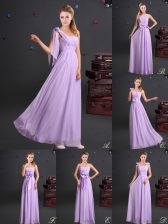 Modest One Shoulder Sleeveless Quinceanera Court Dresses Floor Length Ruching and Bowknot and Hand Made Flower Lavender Chiffon