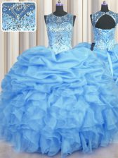 Pretty See Through Sleeveless Lace Up Floor Length Beading and Ruffles and Pick Ups Quinceanera Dresses
