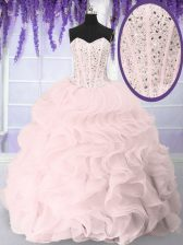 Floor Length Lace Up 15 Quinceanera Dress Pink for Military Ball and Sweet 16 and Quinceanera with Beading and Ruffles