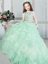 Scoop Sleeveless Floor Length Beading and Ruffles Lace Up Little Girls Pageant Dress Wholesale with Apple Green