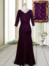 Romantic Dark Purple Zipper Beading and Lace and Hand Made Flower Homecoming Dress Elastic Woven Satin Half Sleeves