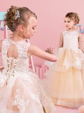 Modern Scoop Champagne Sleeveless Tulle Lace Up Toddler Flower Girl Dress for Quinceanera and Wedding Party