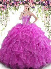 Fuchsia Lace Up Sweet 16 Dresses Beading and Ruffles Sleeveless Floor Length