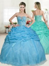 Luxurious Baby Blue Ball Gowns Beading and Pick Ups Sweet 16 Dress Lace Up Organza Sleeveless Floor Length