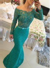 Captivating Mermaid Lace Green Long Sleeves Floor Length Beading Backless Prom Gown